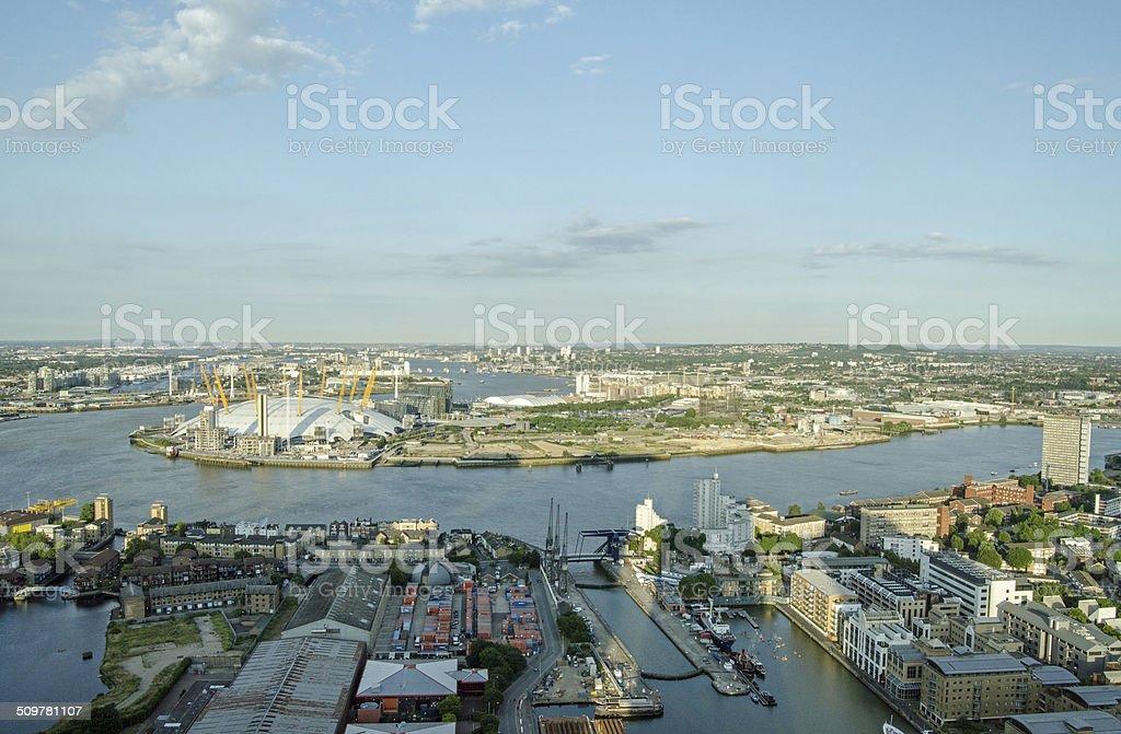 River Thames at North Greenwich stock photo