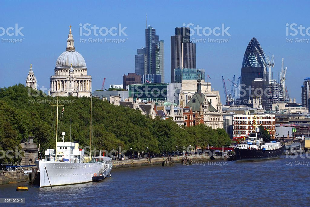 River Thames Bank in London, England stock photo