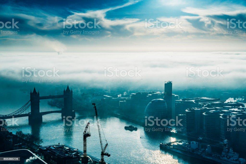 River Thames with Tower bridge, London, UK stock photo