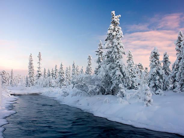 River through Swedish Lapland. stock photo