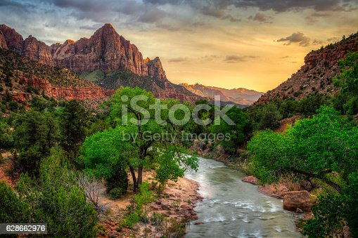 Incredible sunset over the Watchman, Zion National Park, Utah.
