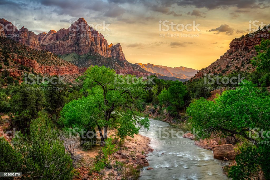 River Through Zion at Sunset, Zion National Park, Utah stock photo