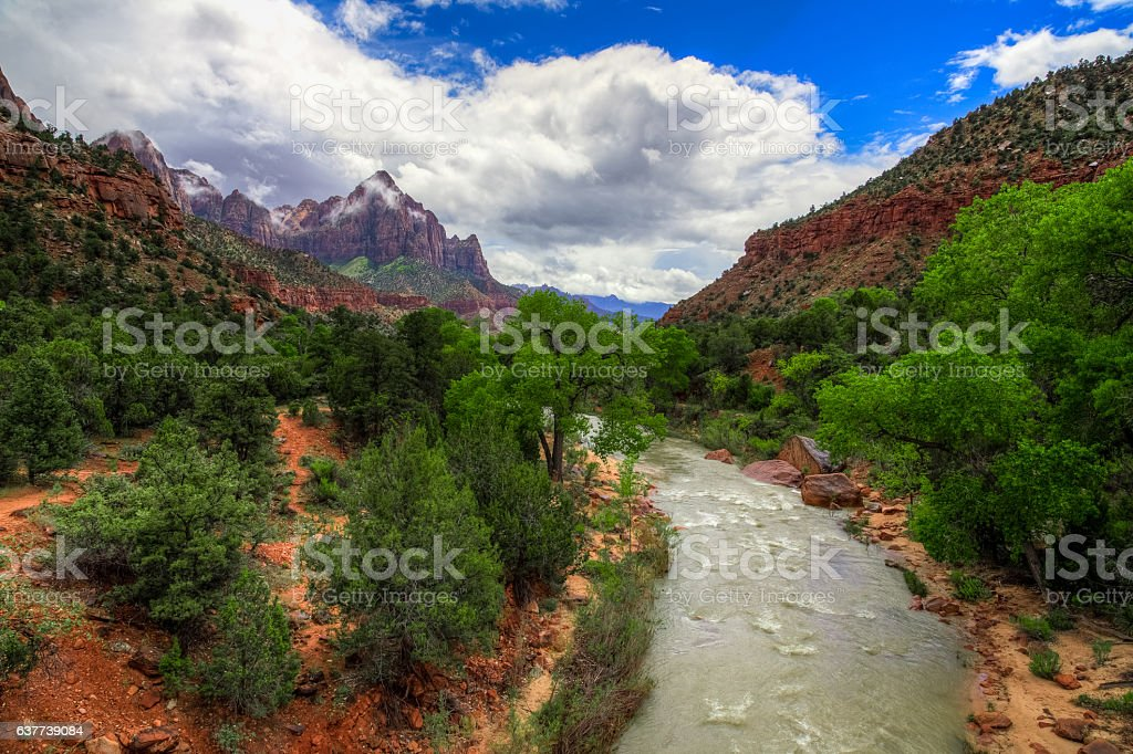 River Through Zion, Zion National Park, Utah stock photo