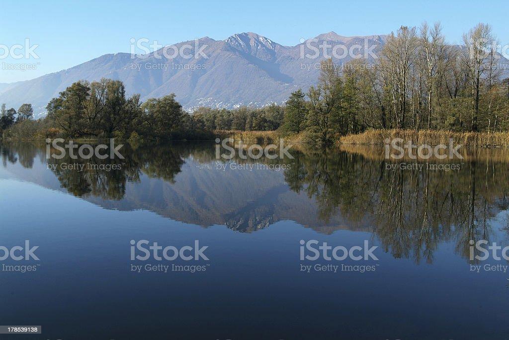 river Ticino at Magadino plain royalty-free stock photo