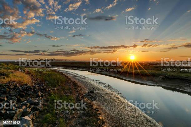 River To Sea At Sunset Stock Photo - Download Image Now