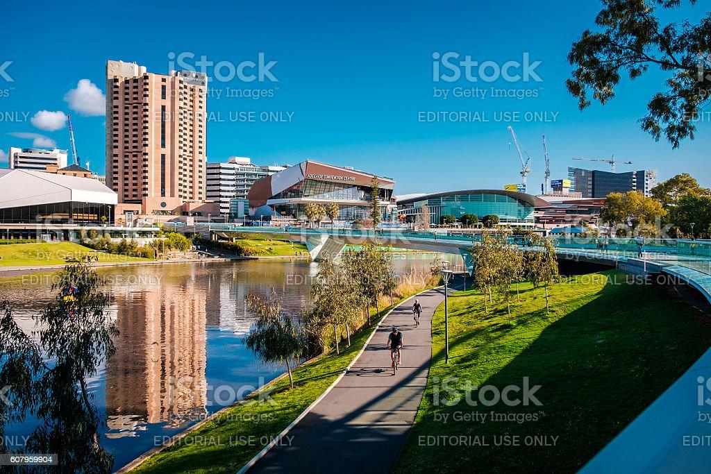 River Torrens foot bridge in Adelaide stock photo