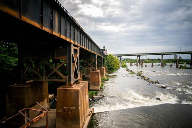 River train tracks stock photo