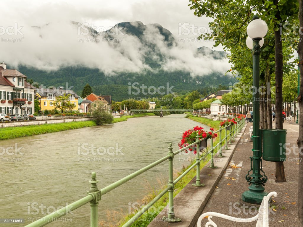 River Traun in Bad Ischl stock photo