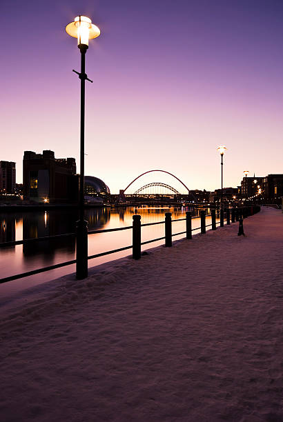 river tyne at sundown in winter - gateshead stock photos and pictures