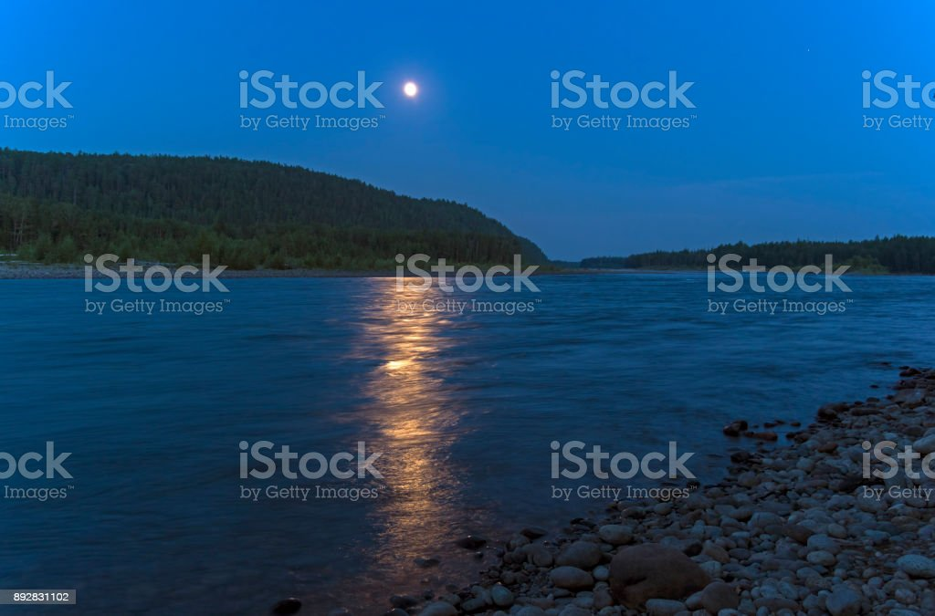 River under the moonlight stock photo