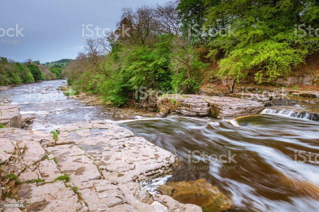 River Ure Flows over Aysgarth Lower Falls stock photo