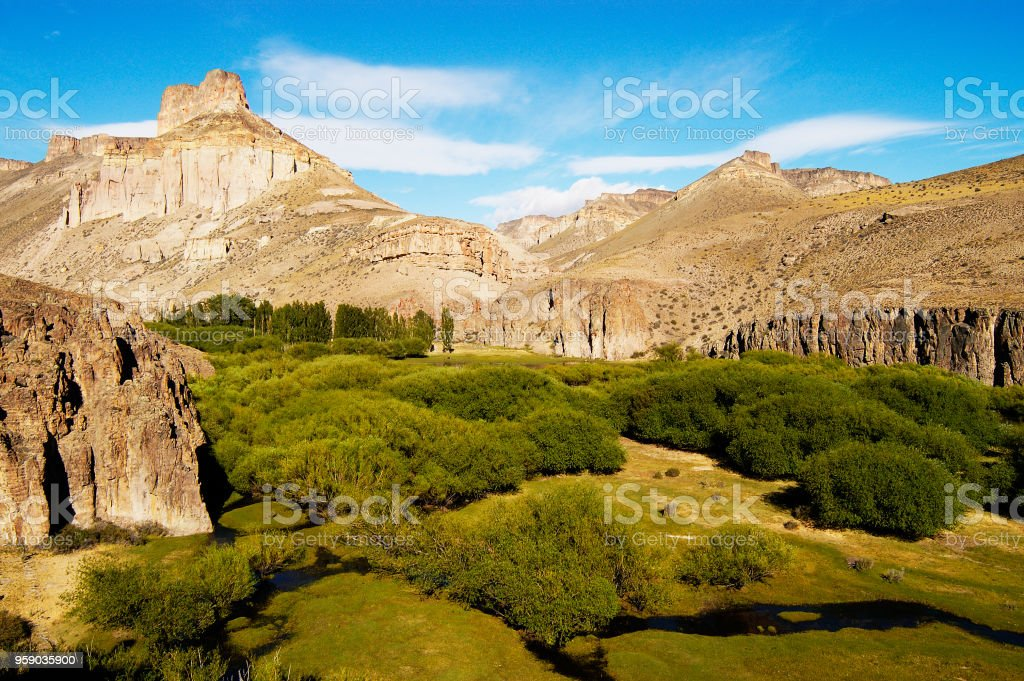 river valley in patagonia desert stock photo