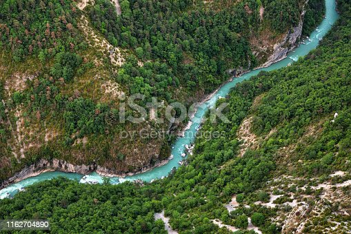 View from a rock wall, down into the river valley of the Verdon. Observation platform and starting point for breathtaking climbing experiences and hikes in beautiful, untouched nature.