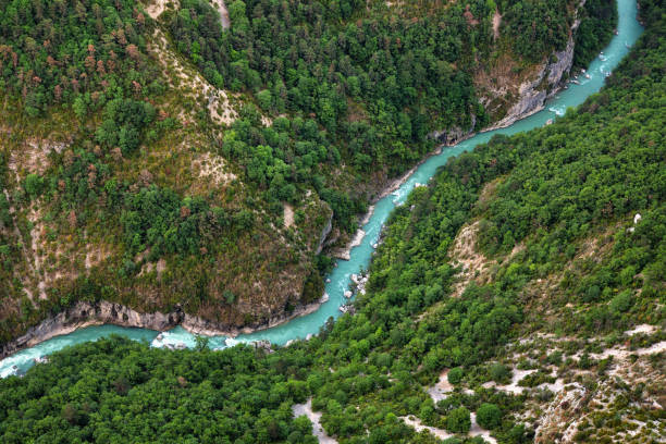 River valley of the Verdon View from a rock wall, down into the river valley of the Verdon. Observation platform and starting point for breathtaking climbing experiences and hikes in beautiful, untouched nature. river stock pictures, royalty-free photos & images