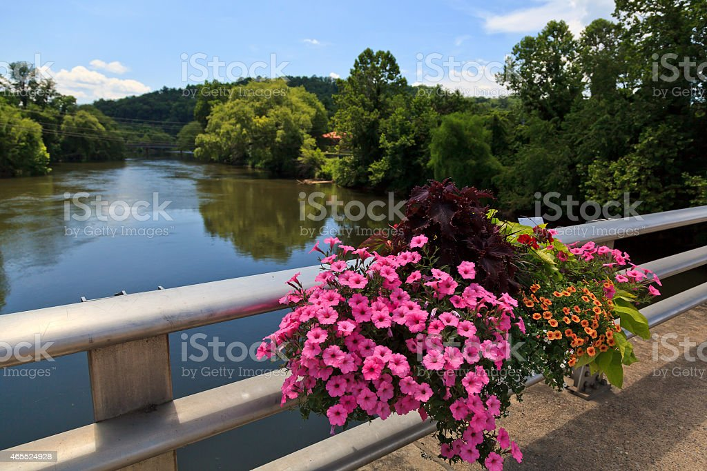 River View from a Bridge in the Mountains stock photo