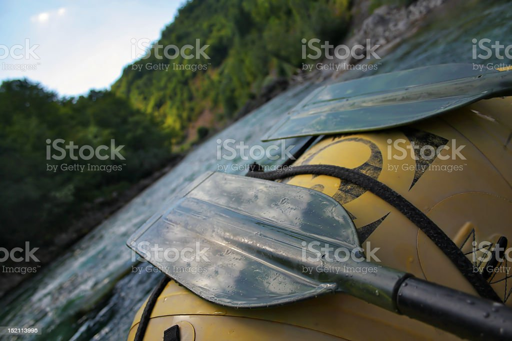 River view from an inflatable raft stock photo