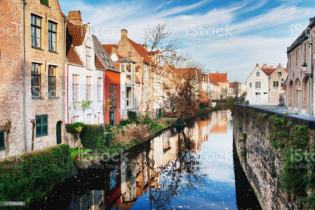 River view in Bruges, Belgium stock photo