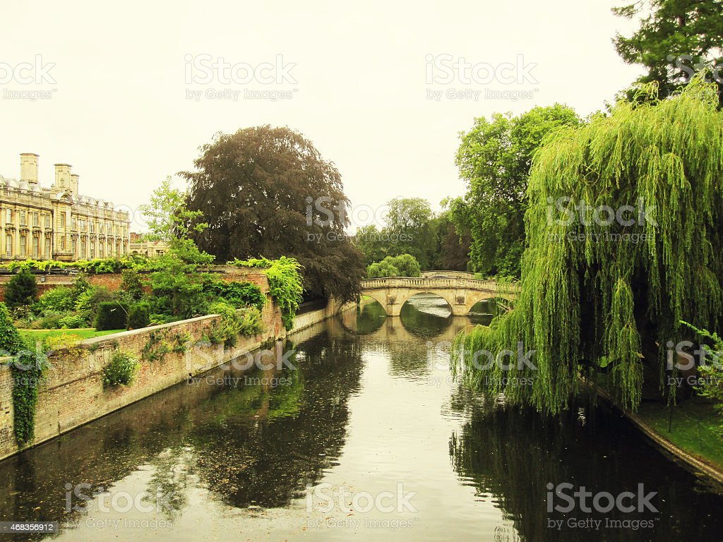 River view of the University of Cambridge royalty-free stock photo