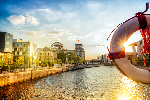 river view on Reichstag at summer sunset