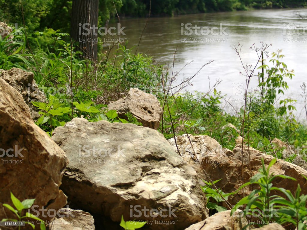 River view over the rocks royalty-free stock photo