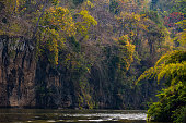 River view with raft house on River Kwai in Kanchanaburi