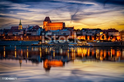 River Vistula and Torun'Old Town by twilight , Poland
