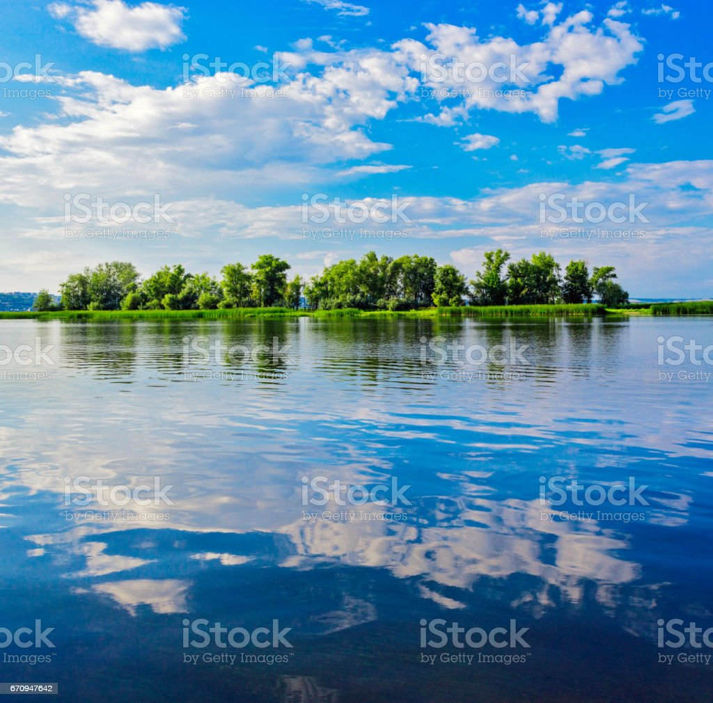 river volga with islands stock photo