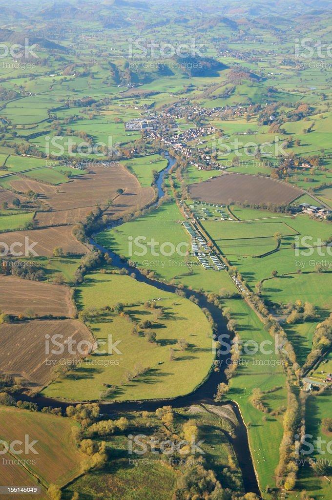 River Vyrnwy and Llansantffriad stock photo