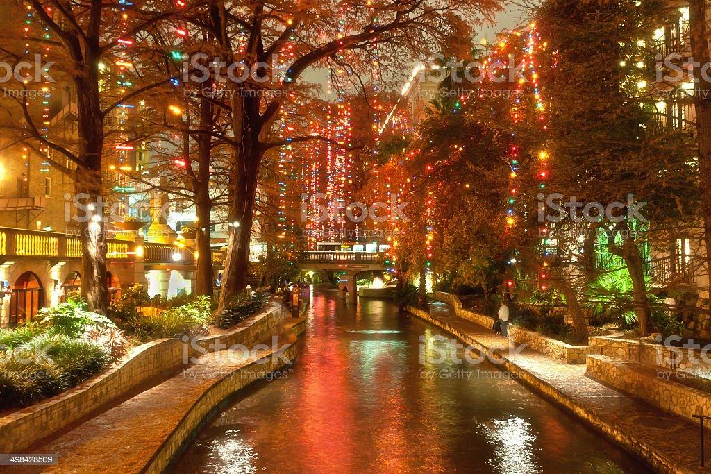 River walk in San Antonio Stadt in der Weihnachtszeit – Foto