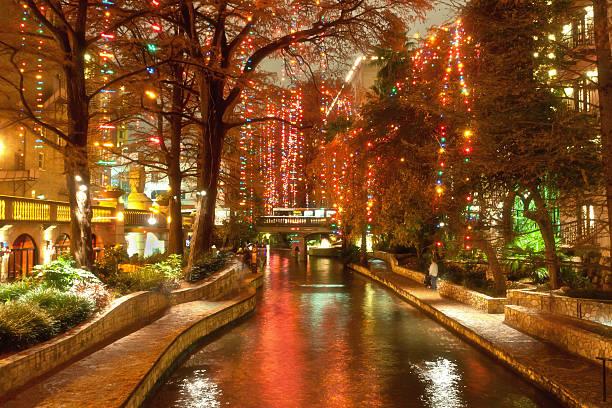 River walk  in San Antonio city  at holiday season Christmas lights at riverwalk in San Antonio, Texas, USA san antonio texas stock pictures, royalty-free photos & images