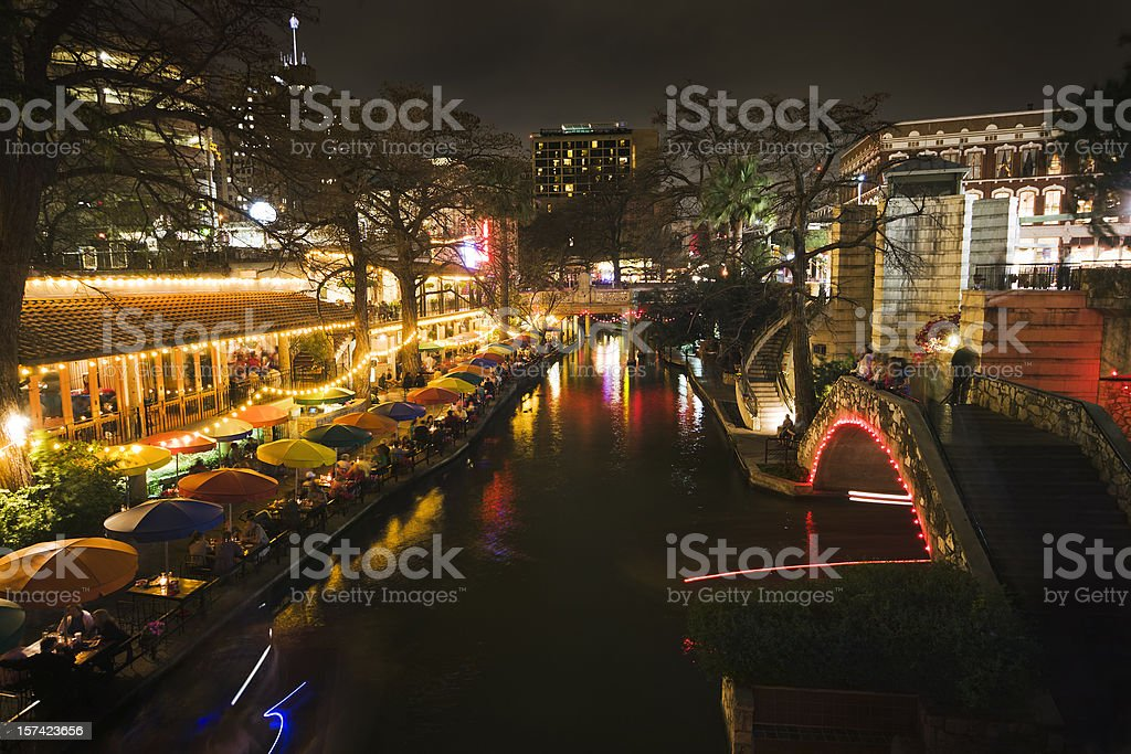 River Walk, San Antonio, Texas, Showing Sidewalk Cafe Night Life royalty-free stock photo