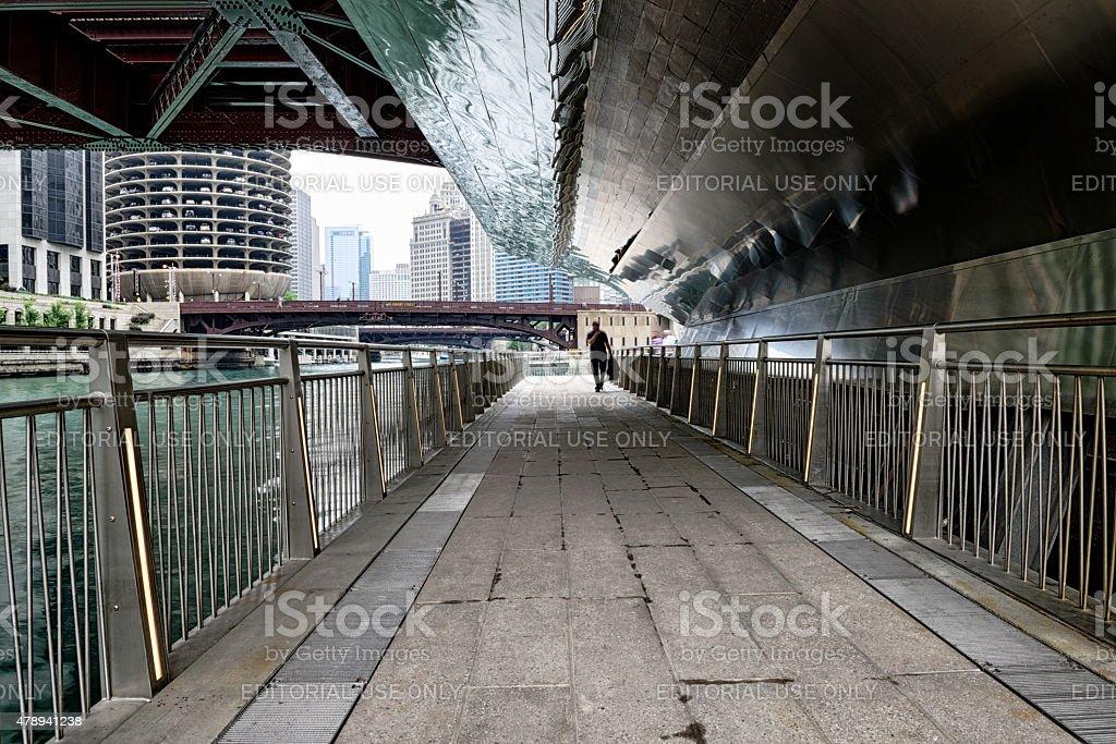 River Walk  under Clark Street Bridge, downtown Chicago stock photo