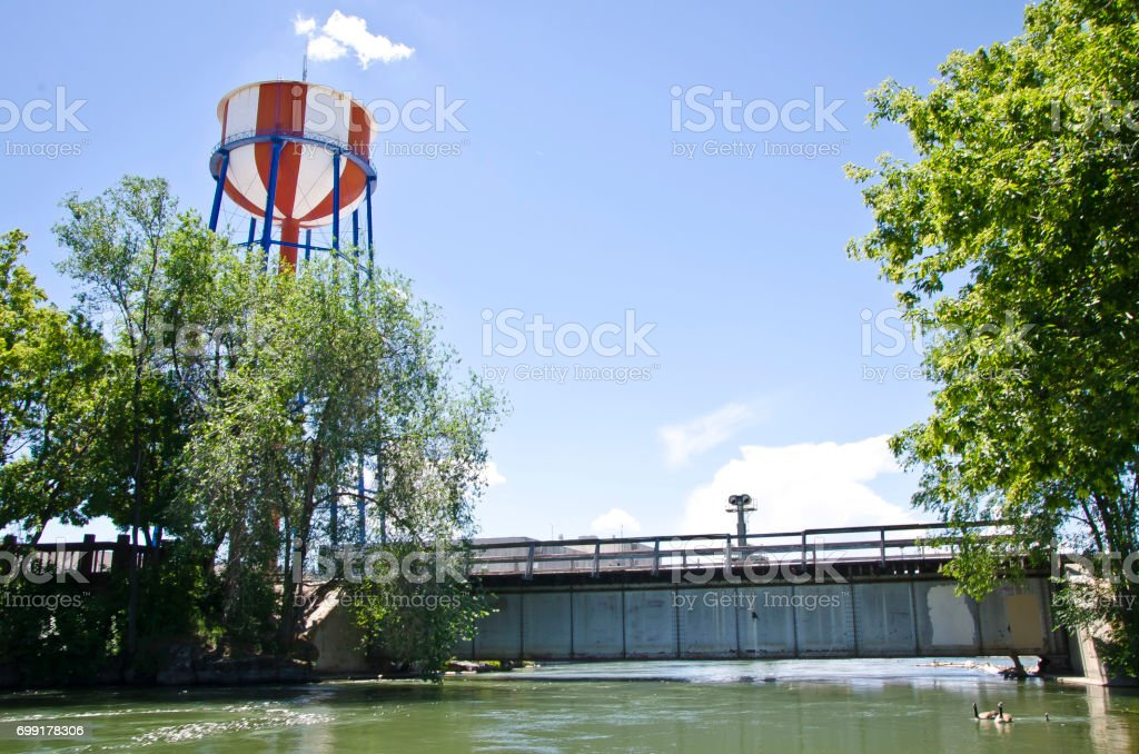 River water tower stock photo