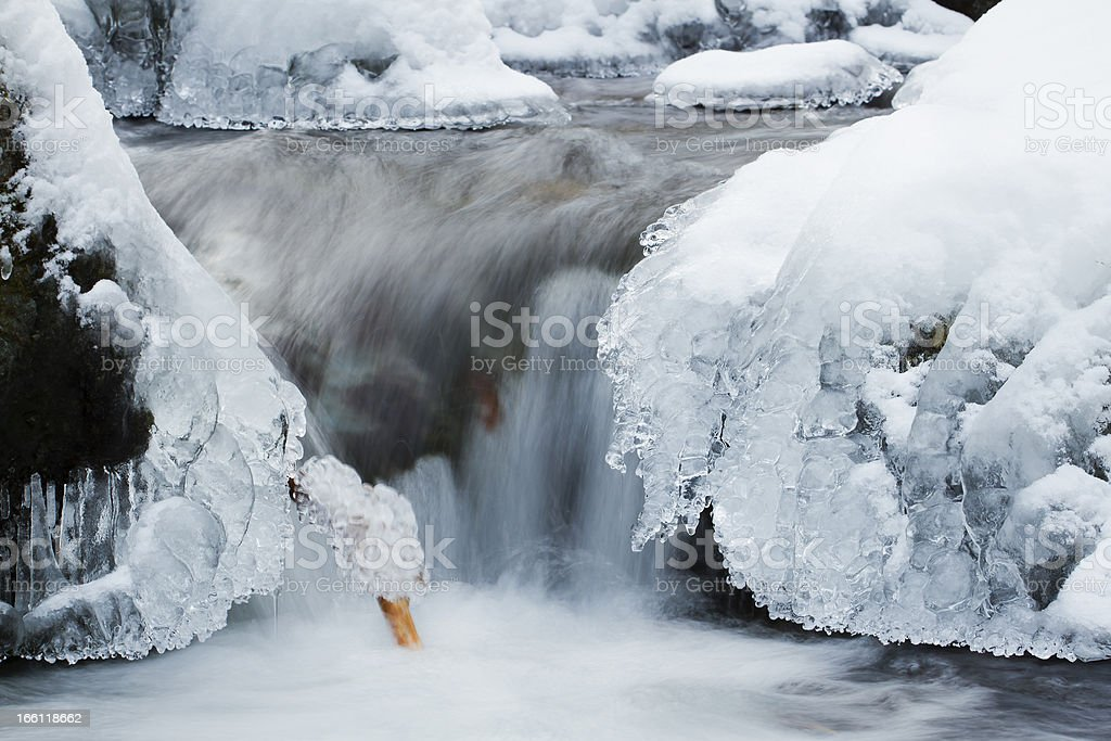 river waterfall on ice in wintertime royalty-free stock photo