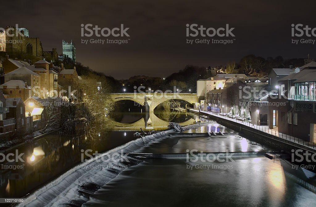 River Wear seen from Durham, cold winter - English landmark stock photo