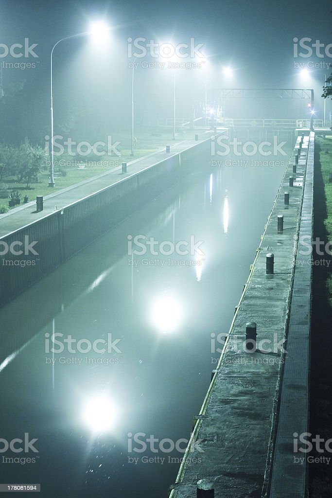 River weir at night royalty-free stock photo
