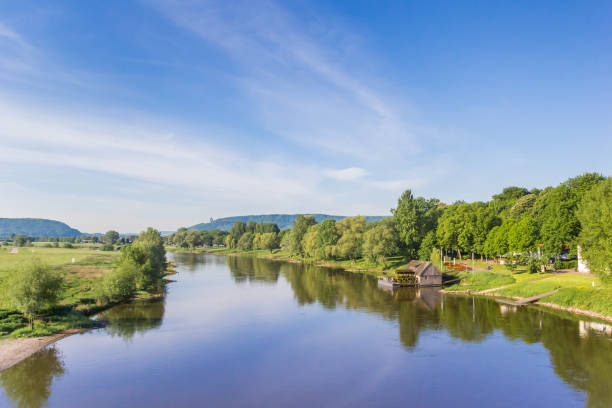 River Weser and old wooden mill near Minden, Germany River Weser and old wooden mill near Minden, Germany lower saxony stock pictures, royalty-free photos & images
