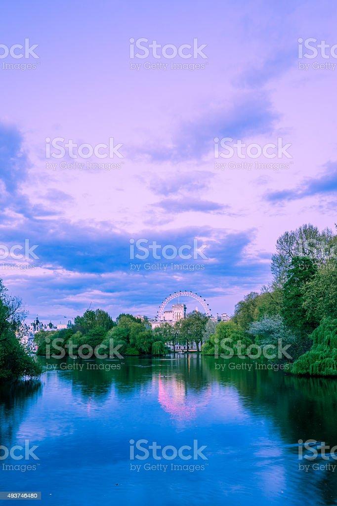 River wheel portrait purple stock photo