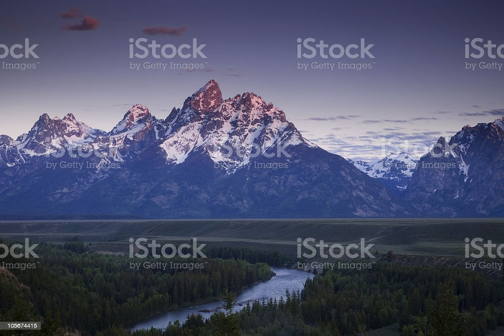 River winding thru the mountains stock photo