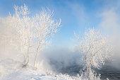 River winter in Russia. Tatarstan Kama