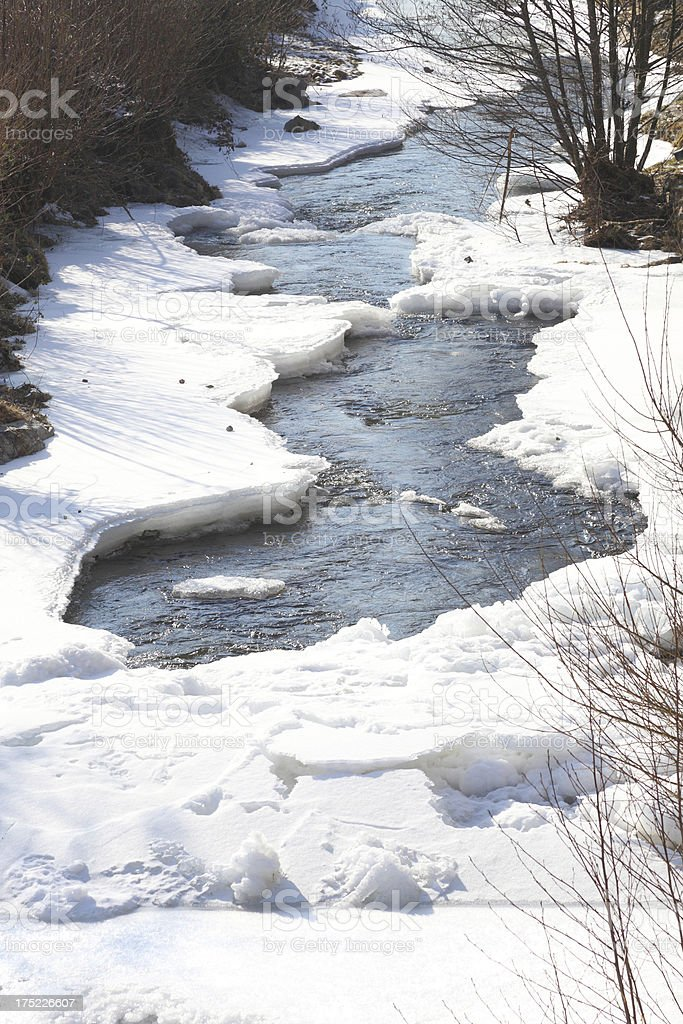 river with frozen water royalty-free stock photo