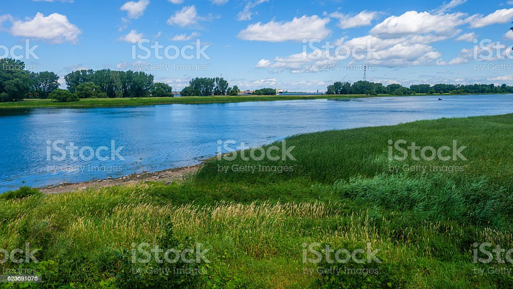 River with grasslands and trees stock photo
