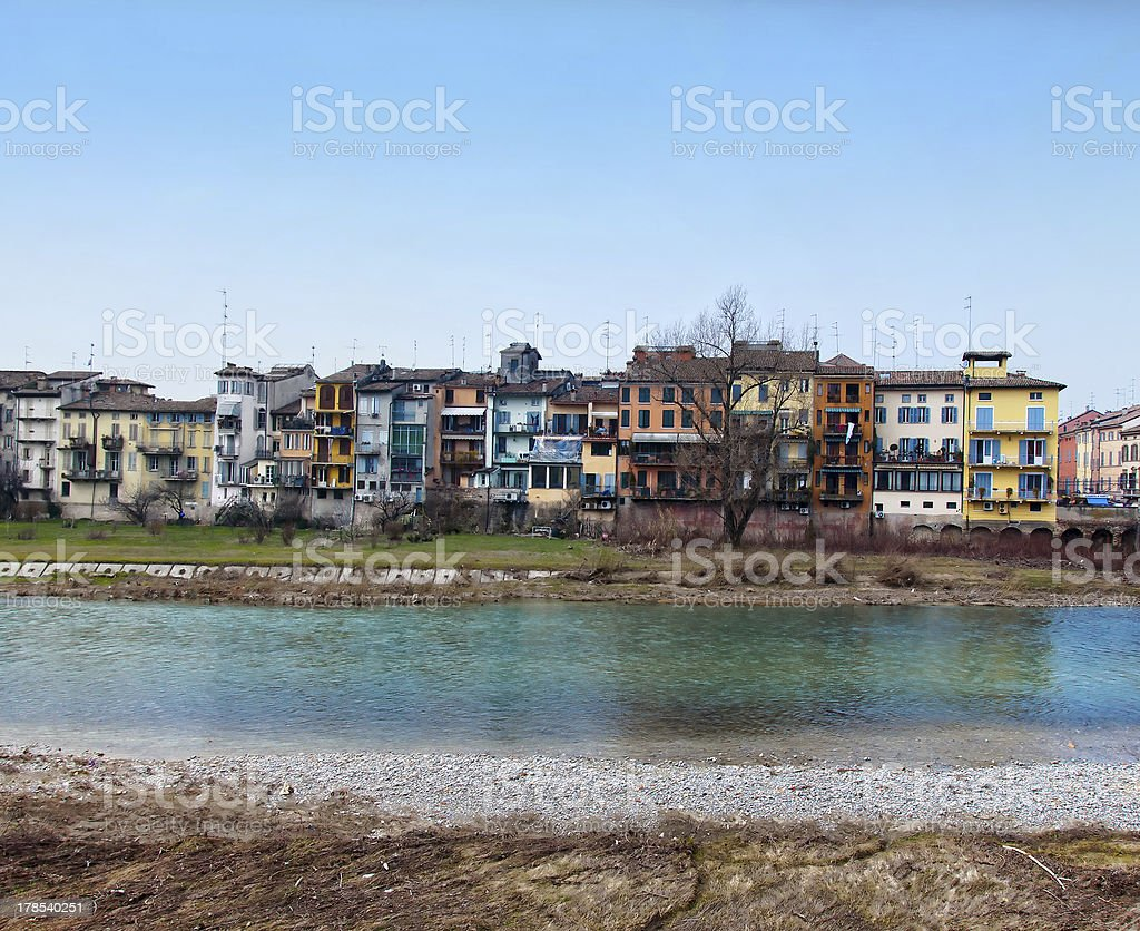 river with houses in Parma - Italy stock photo