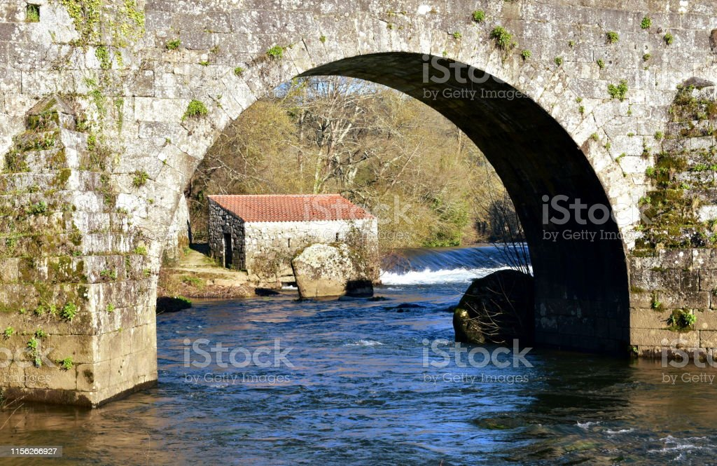 Ponte Maceira, A Coruña Province, Galicia, Spain. Medieval bridge...