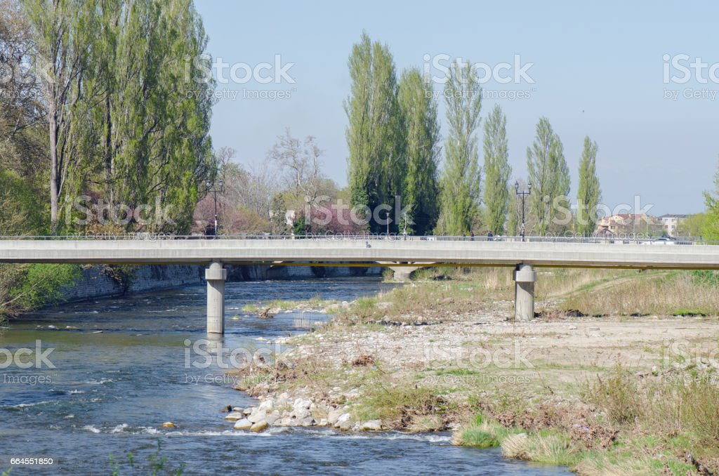 River With Pedestrian Bridge royalty-free stock photo