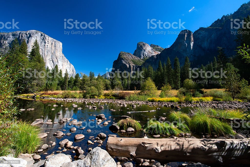 River with rocks in Yosemite National Park stock photo