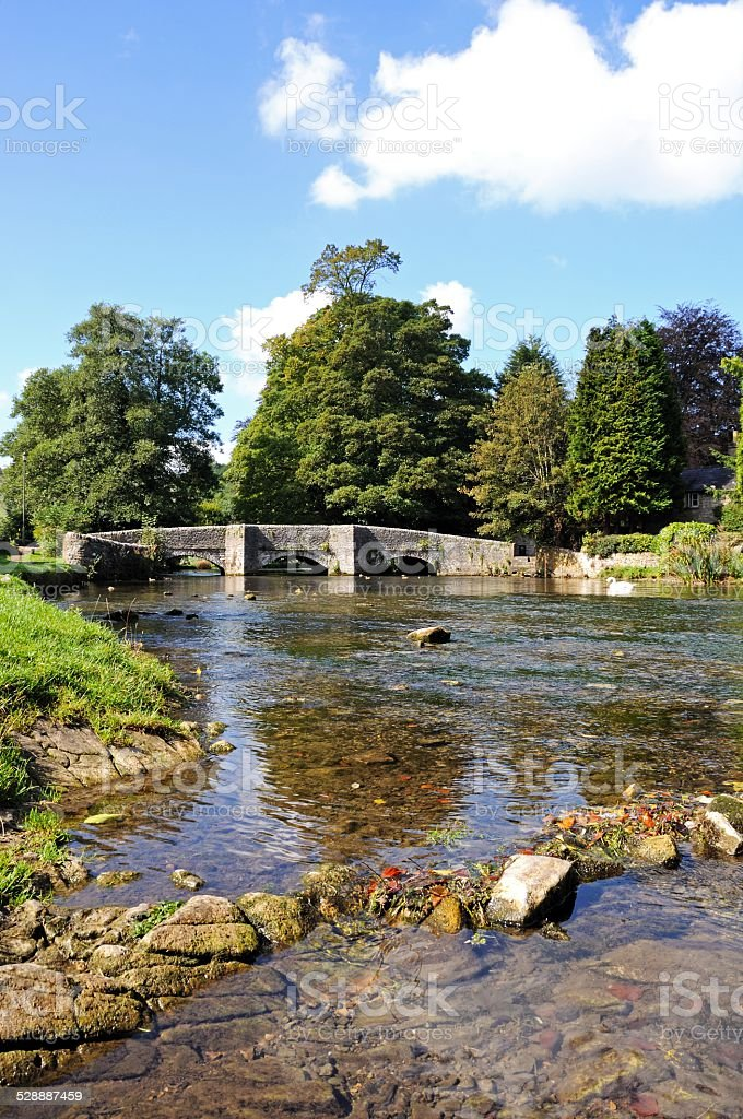 River Wye and bridge, Ashford-in-the-Water. stock photo