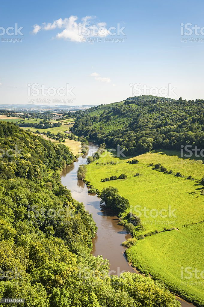 River Wye from Symonds Yat idyllic summer valley UK stock photo