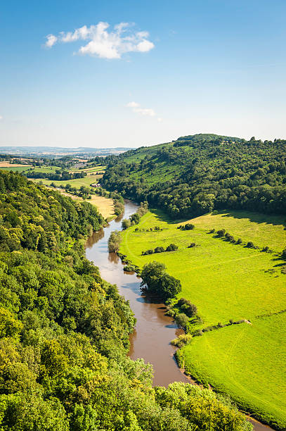 River Wye from Symonds Yat idyllic summer valley UK stock photo