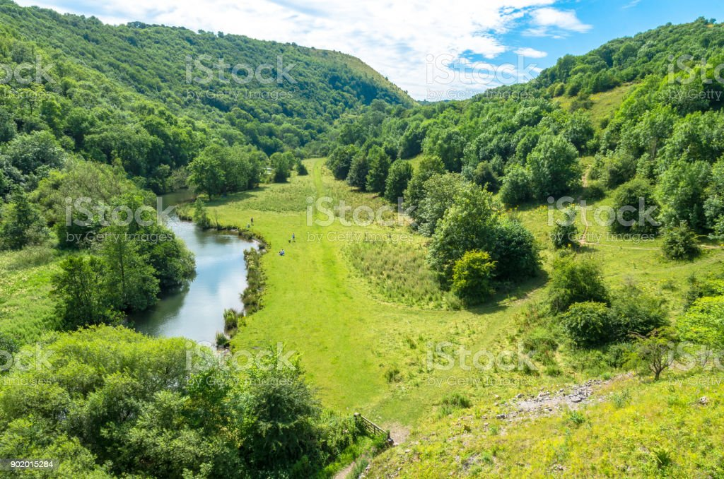 River Wye on the Monsal Trail in summer stock photo